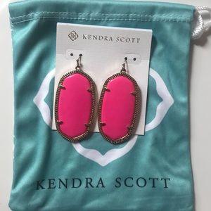Kendra Scott Danielle Earrings Gold Hot Pink Stone